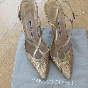 Manolo Blahnik gold slingback sandals